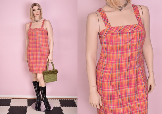 90s Cream and Brown Gingham Dress Small 1990s Tank Sleeveless