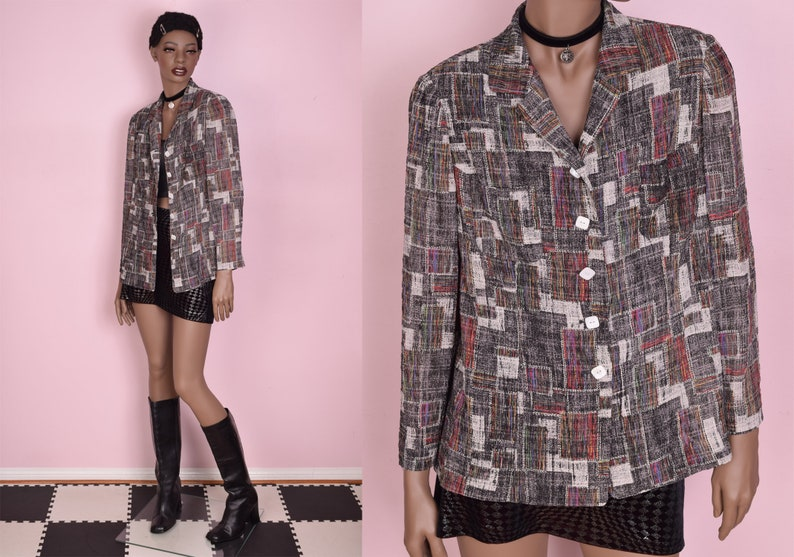 80s Abstract Pattern Shirt Large 1980s