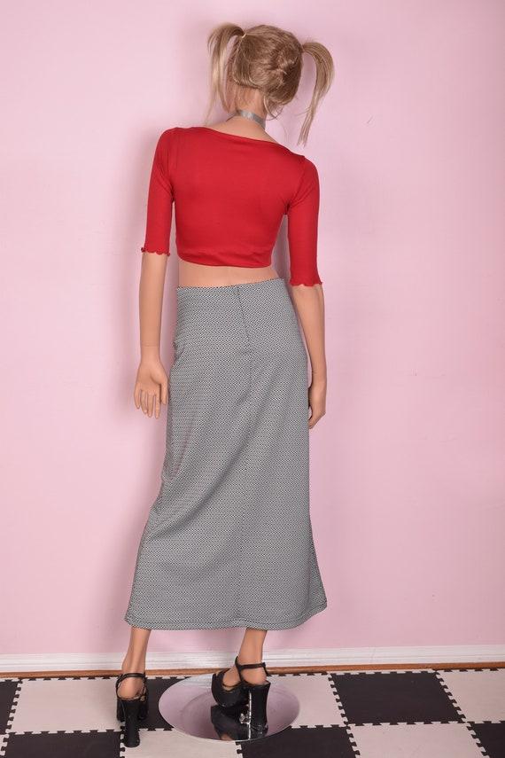90s Black and White Geometric Pattern Skirt/ Medi… - image 3