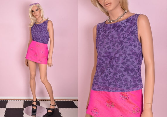 90s Printed Mesh Top/ Medium/ 1990s/ Sleeveless