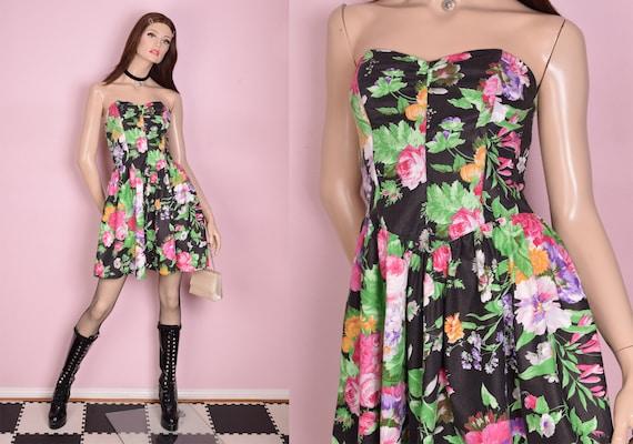 80s Floral Print Strapless Dress/ US 7-8/ 1980s