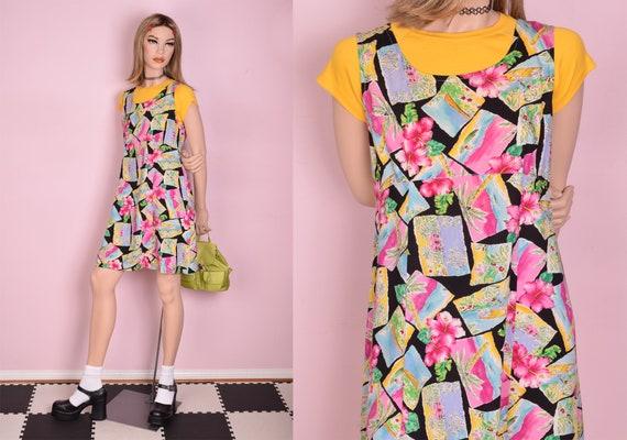 90s Tropical Print Dress/ Small-Medium/ 1990s/ Tan