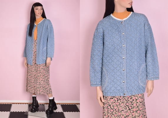 80s Quilted Denim Jacket/ Medium/ 1980s