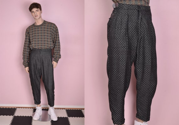 80s 90s Deadstock Checkered Trousers/ 31.5 Waist/