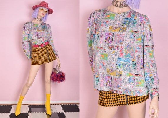 80s Colorful Marble Pattern Blouse/ US 14/ 1980s/