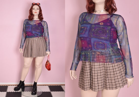 90s Printed Mesh Top/ XL/ 1990s/ Long Sleeve