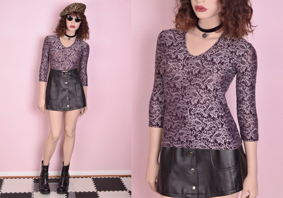 90s Lace Pattern Mesh Top/ Small/ 1990s