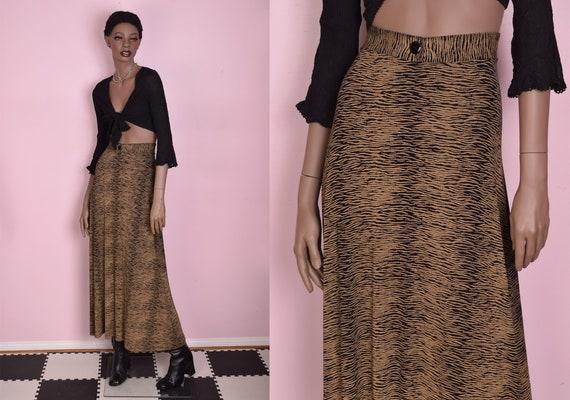90s Animal Print Maxi Skirt/ Large/ 1990s