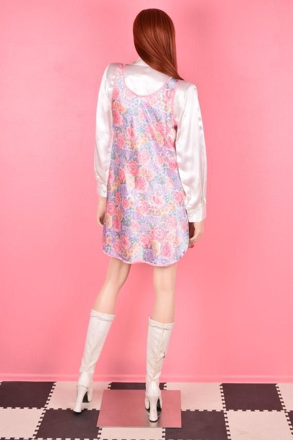 80s Floral Print Slip Dress/ Medium/ 1980s - image 3
