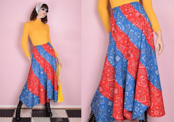 70s Patchwork Print Maxi Skirt/ Small/ 1970s