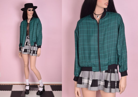 90s Plaid Bomber Jacket/ Medium/ 1990s