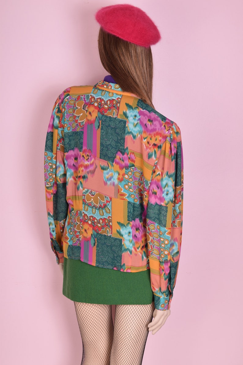 90s Multi Pattern Blouse Large 1990s Long Sleeve Button Down
