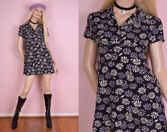 90s Daisy Print Dress/ US 5/ 1990s