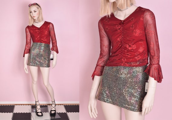 90s Deadstock Glitter Floral Print Mesh Top/ Small