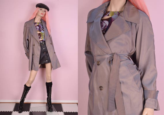80s Iridscent Trench Coat/ Large/ 1980s/ Jacket by Etsy