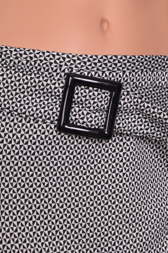 90s Black and White Geometric Pattern Skirt/ Medi… - image 2