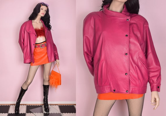 80s Pink Leather Jacket/ Medium/ 1980s