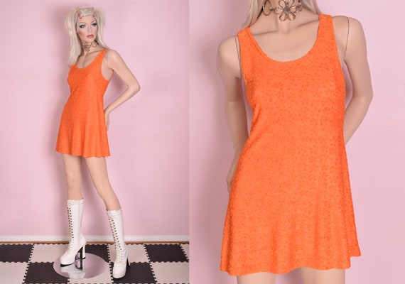90s Orange Daisy Pattern Mini Dress/ Medium/ 1990s