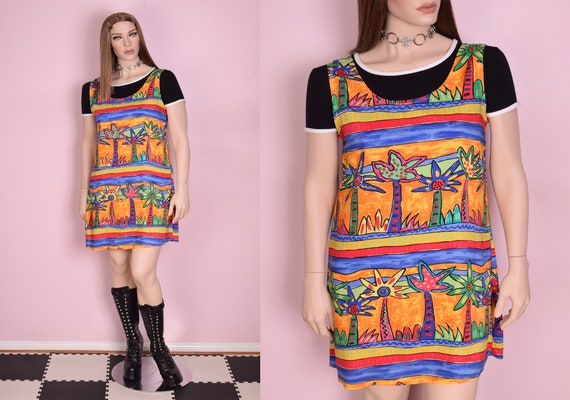 90s Colorful Tropical Print Dress/ Large/ 1990s/ T