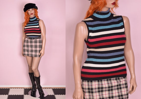 90s Y2K Multicolor Striped Sparkly Ribbed Knit Tur