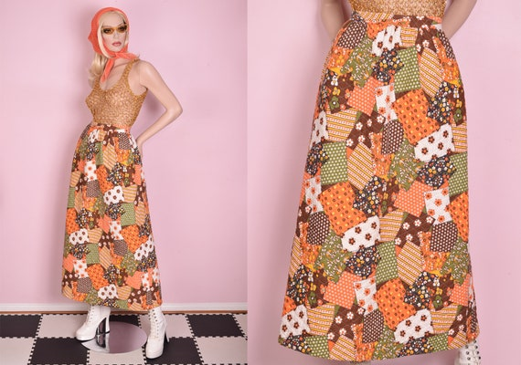 70s Patchwork Print Quilted Skirt/ Small/ 1970s/ M
