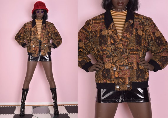 90s Printed Cropped Bomber Jacket/ Large/ 1990s