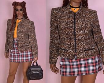 90s Leopard Print Lightweight Jacket/ US 12/ 1990s