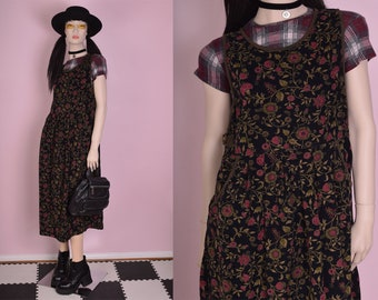 90s Floral Print Corduroy Jumper Dress/ Medium/ 1990s/ Tank/ Sleeveless