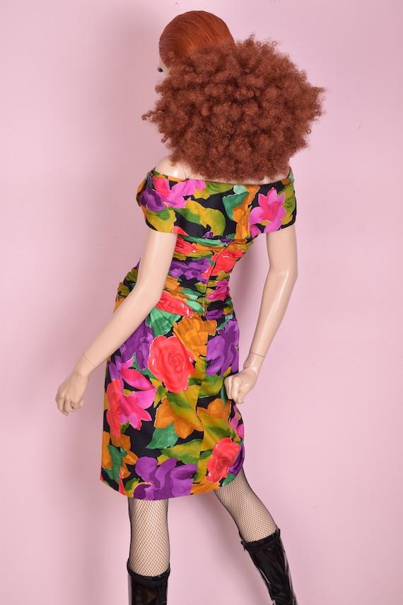 80s Floral Print Tulip Skirt Dress/ US 8/ 1980s - image 2