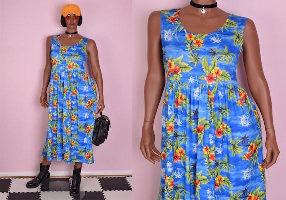90s Tropical Floral Print Dress/ Large/ 1990s/ Tan