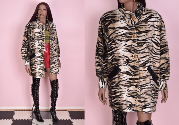 90s Fuzzy Animal Print Coat/ XL/ 1990s/ Jacket