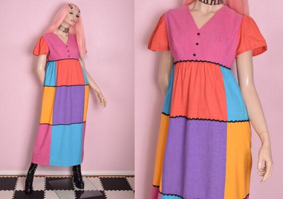 70s Multi Color Patchwork Dress/ Medium/ 1970s