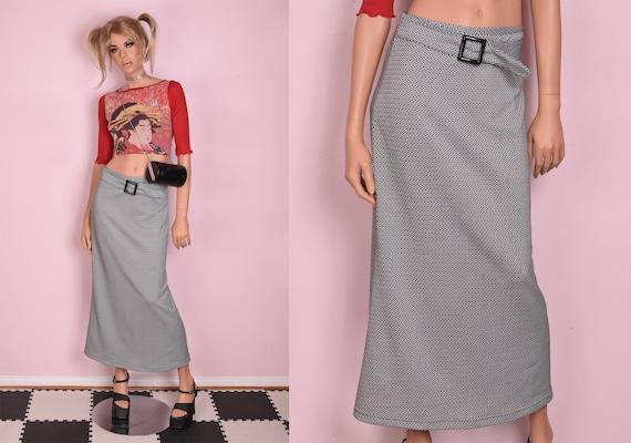 90s Black and White Geometric Pattern Skirt/ Medi… - image 1