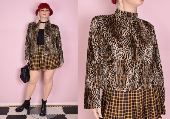 90s Fuzzy Animal Print Jacket/ XL/ 1990s