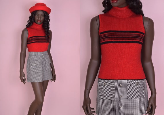 90s Red and Black Striped Sparkly Sleeveless Ribbe