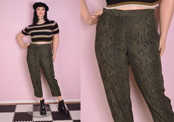 90s Olive Reptile Print Pants/ XL/ 1990s - image 1