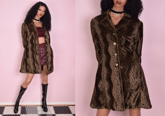 90s Leopard Print Fuzzy Coat/ Large/ 1990s/ Jacket