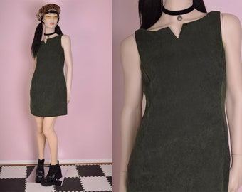90s Olive Faux Suede Dress/ US 7/ 1990s/ Tank/ Sleeveless