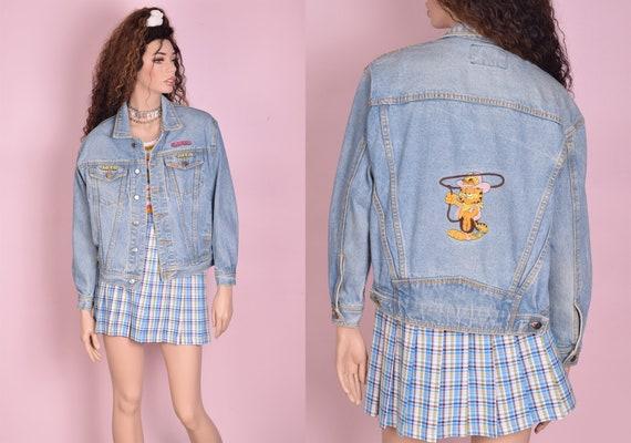70s Garfield Embroidered Denim Jacket/ Unisex Smal