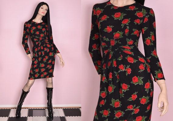 80s Rose Print Long Sleeve Dress/ Small/ 1980s