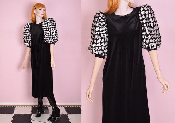70s Metallic Puff Sleeve Velvet Maxi Dress/ Small/