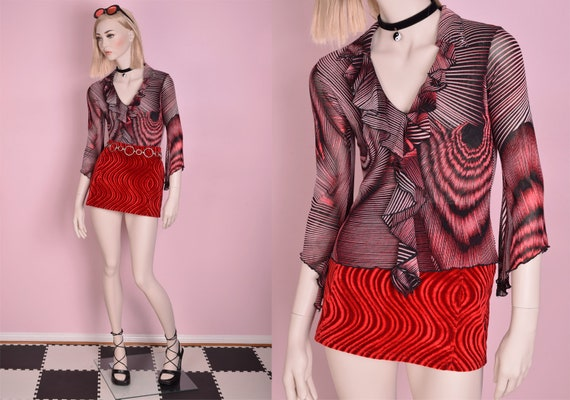 90s Funky Pattern Flounce Mesh Top/ Small/ 1990s - image 1