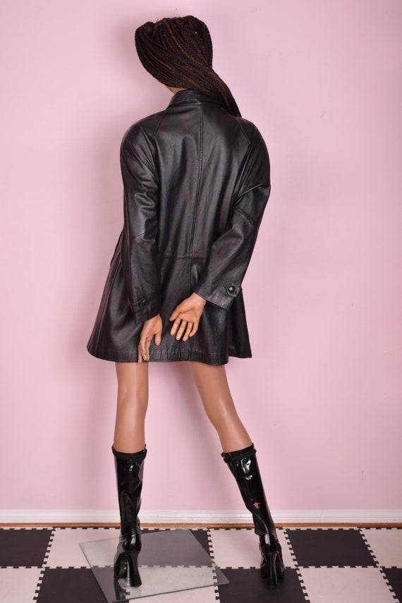 80s Black Leather Coat/ Medium/ 1980s/ Jacket - image 2