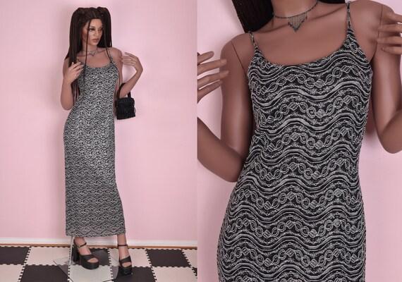 90s Silver Black and White Ornate Mesh Maxi Dress… - image 1