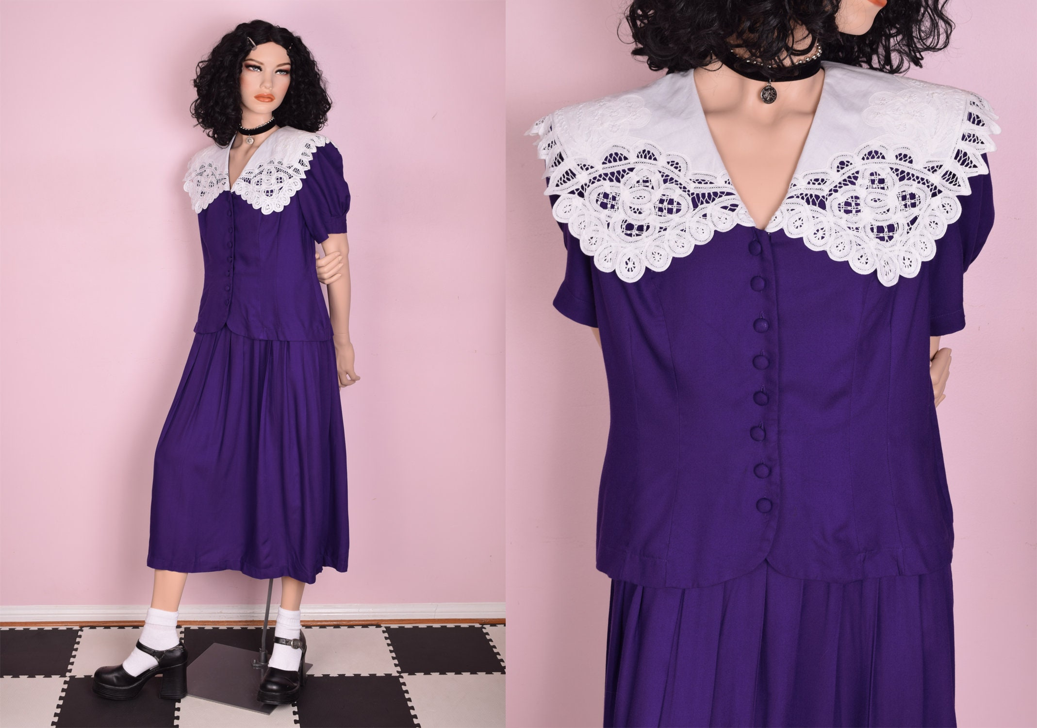80s Dresses   Casual to Party Dresses 80S Purple  White Collared Dress Us 10 1980S $26.75 AT vintagedancer.com