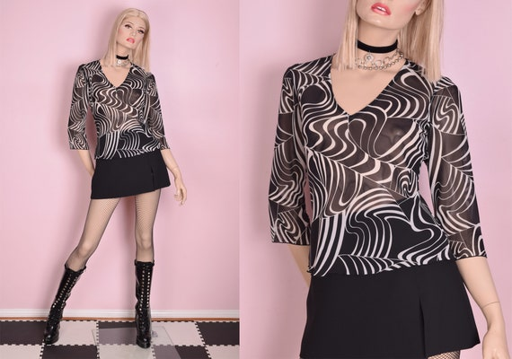 90s Black and White Sheer Psychedelic Print Top/ S