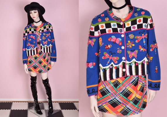 90s Insect Embroidered Multi Pattern Cardigan Swea