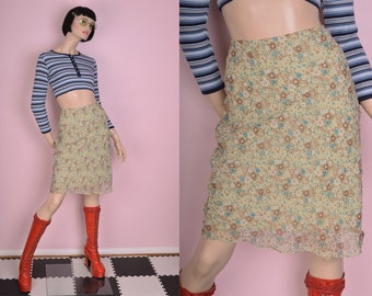 90s Floral Print Skirt/ Small/ 1990s
