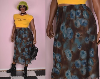 90s Floral Print Skirt/ Large/ 1990s