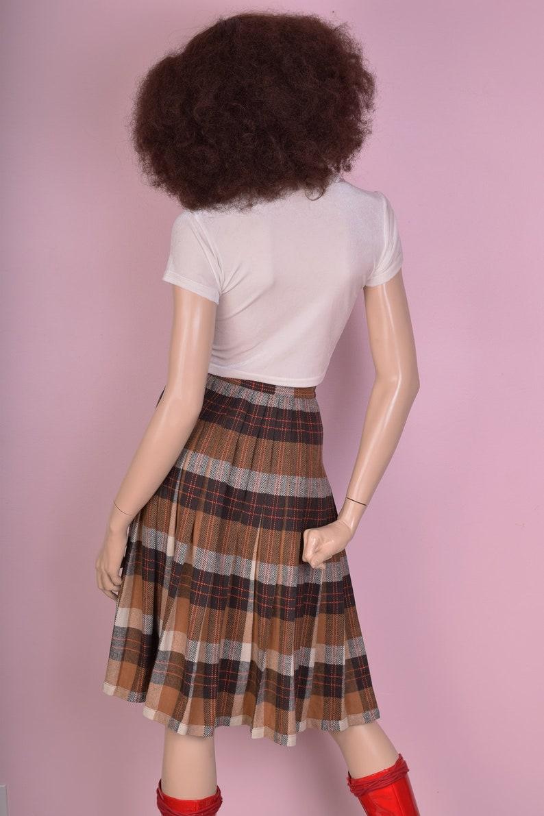 70s Reversible Plaid Skirt 25.5 Waist 1970s Pleated High Waisted